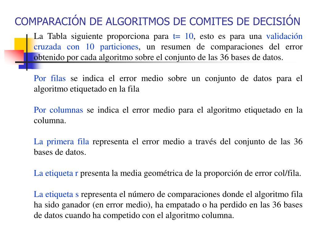 COMPARACIÓN DE ALGORITMOS DE COMITES DE DECISIÓN