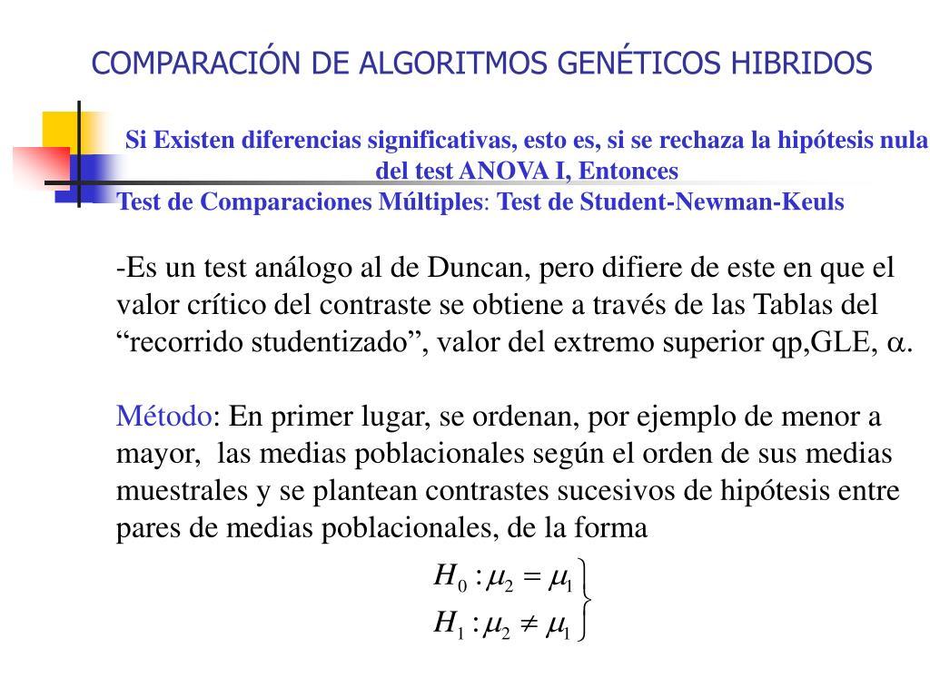 COMPARACIÓN DE ALGORITMOS GENÉTICOS HIBRIDOS