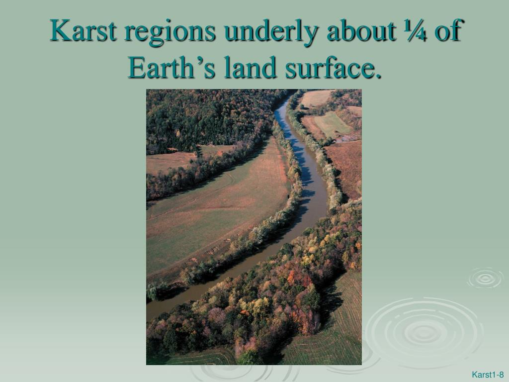 Karst regions underly about ¼ of Earth's land surface.