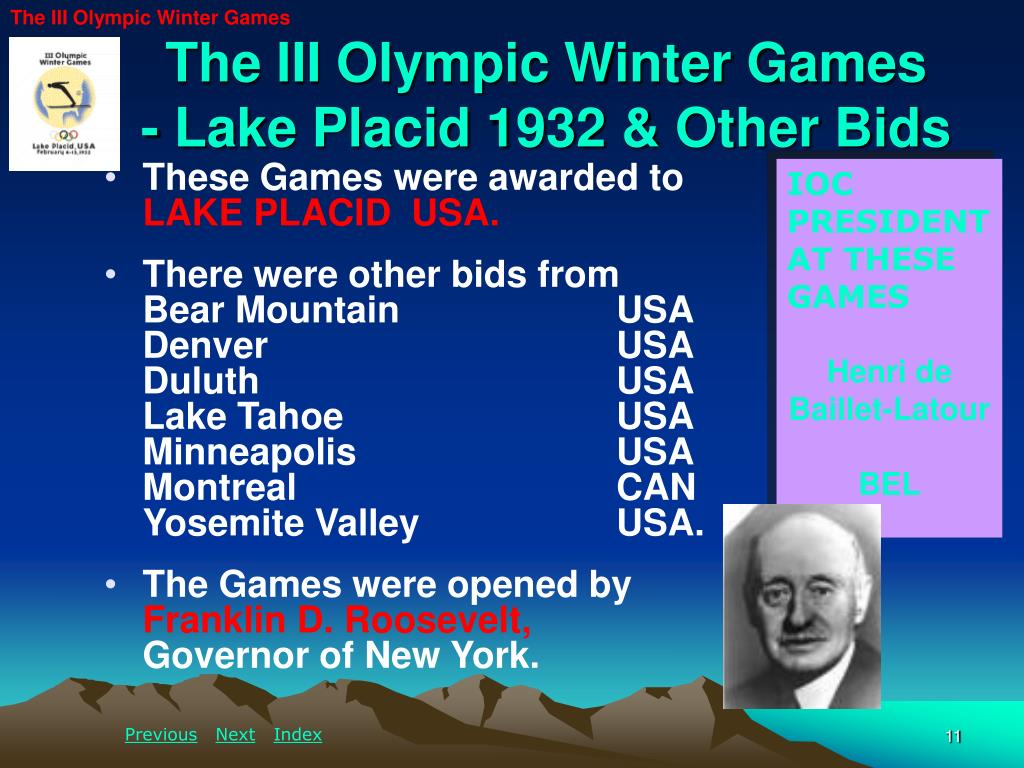 The III Olympic Winter Games