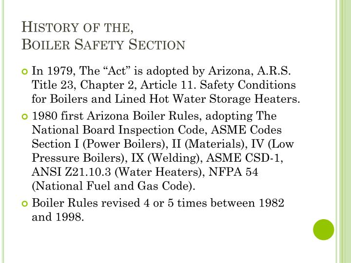 History of the boiler safety section