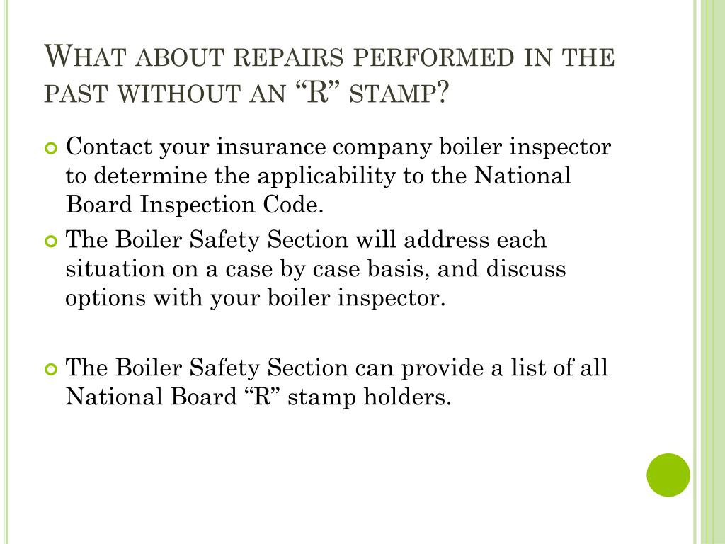 "What about repairs performed in the past without an ""R"" stamp?"