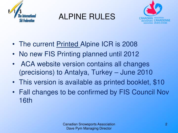 Alpine rules