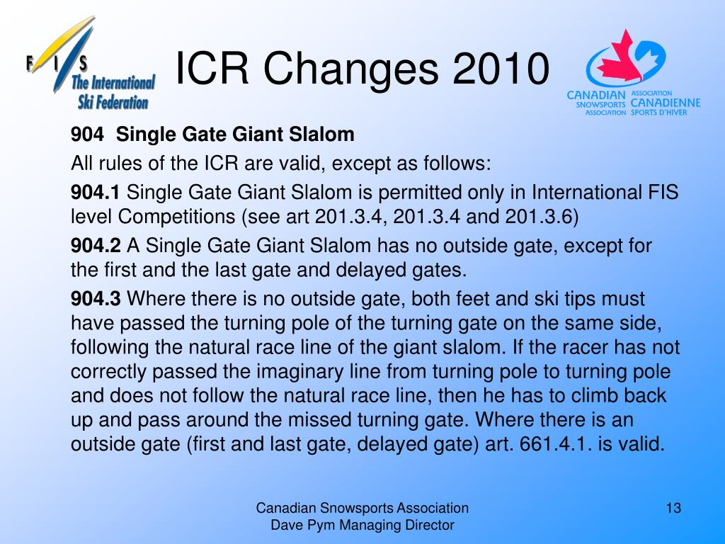 ICR Changes 2010