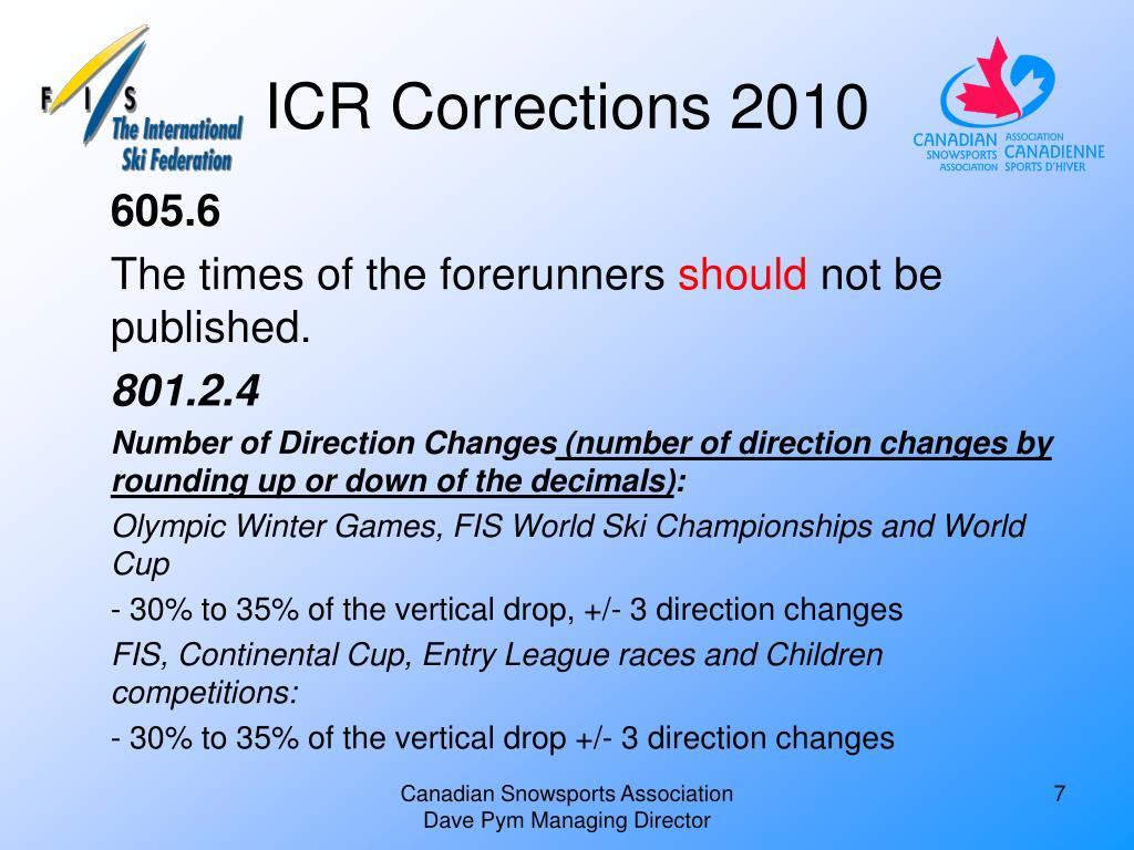 ICR Corrections 2010