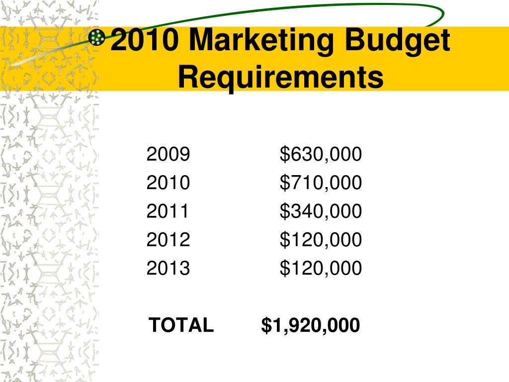 2010 Marketing Budget Requirements