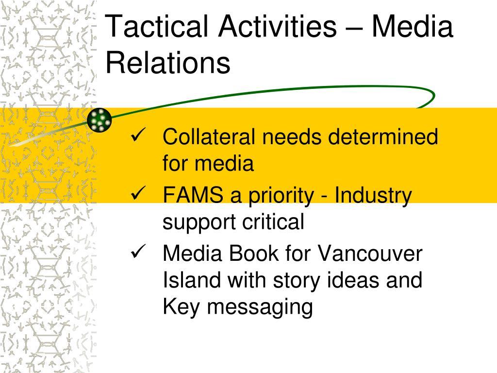 Tactical Activities – Media Relations