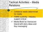 tactical activities media relations