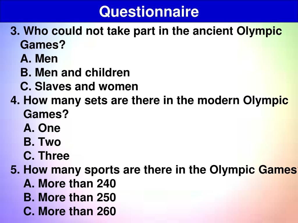 3. Who could not take part in the ancient Olympic