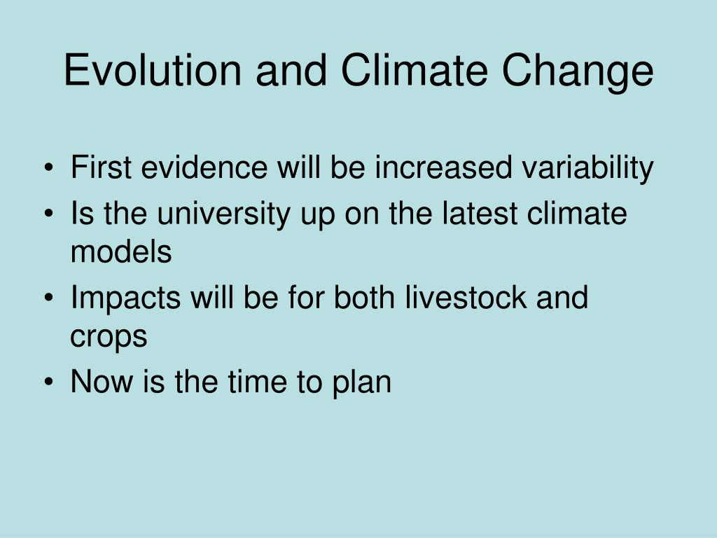 Evolution and Climate Change