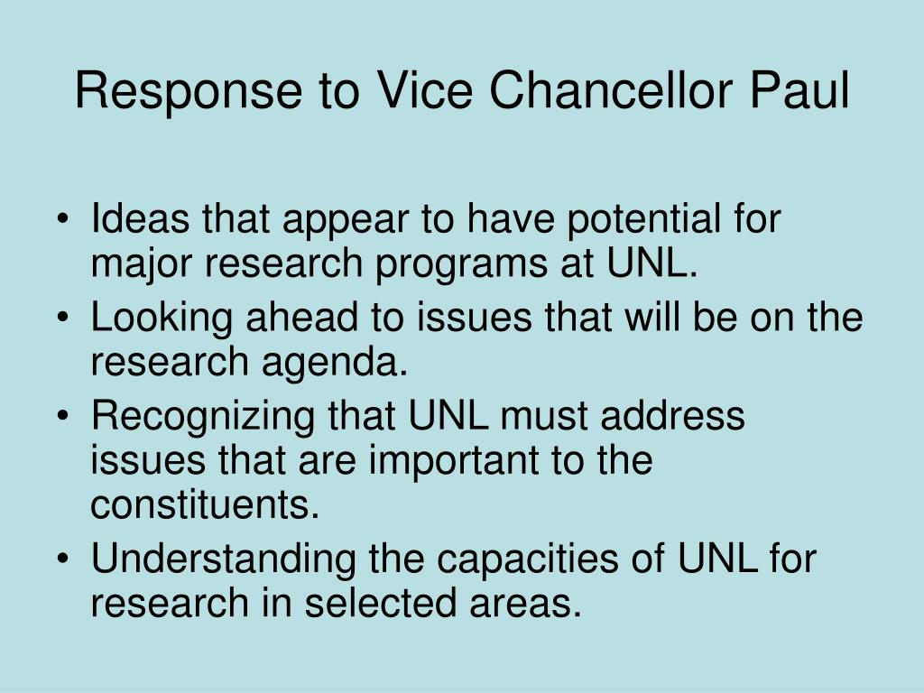 Response to Vice Chancellor Paul