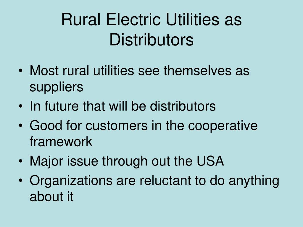 Rural Electric Utilities as Distributors