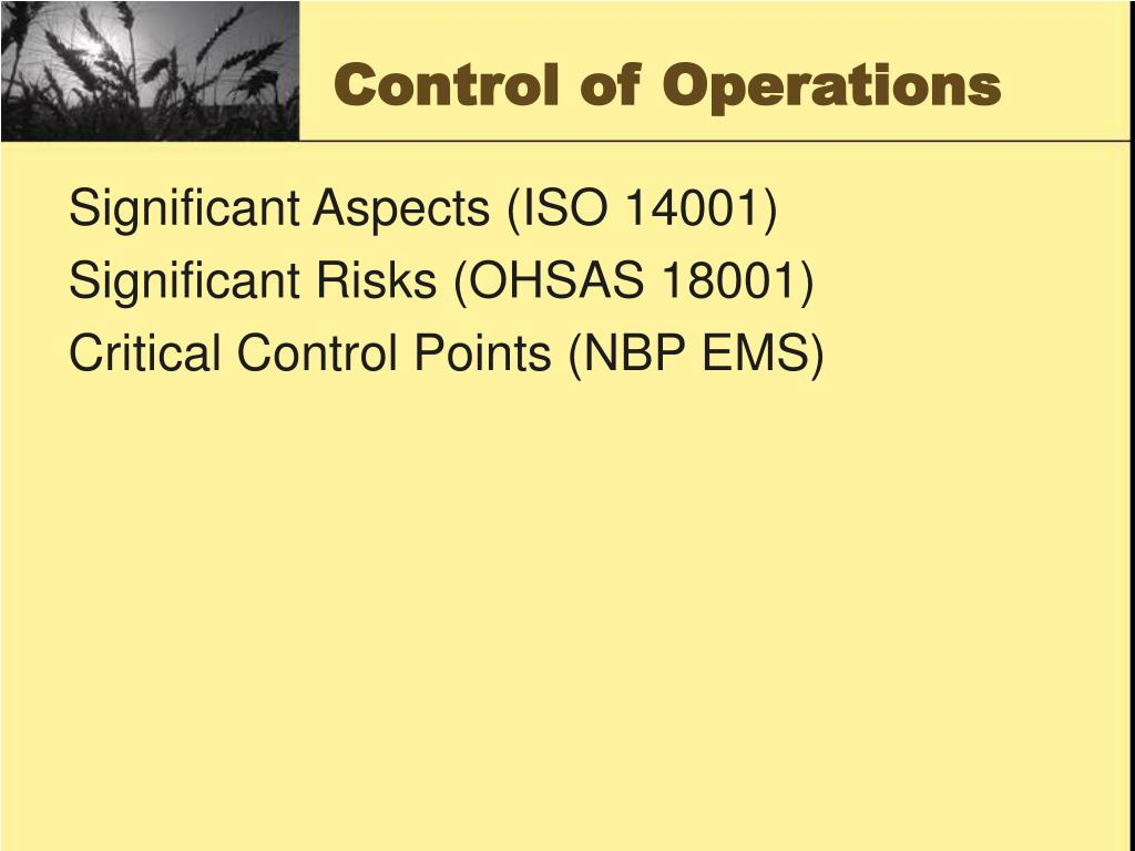 Control of Operations