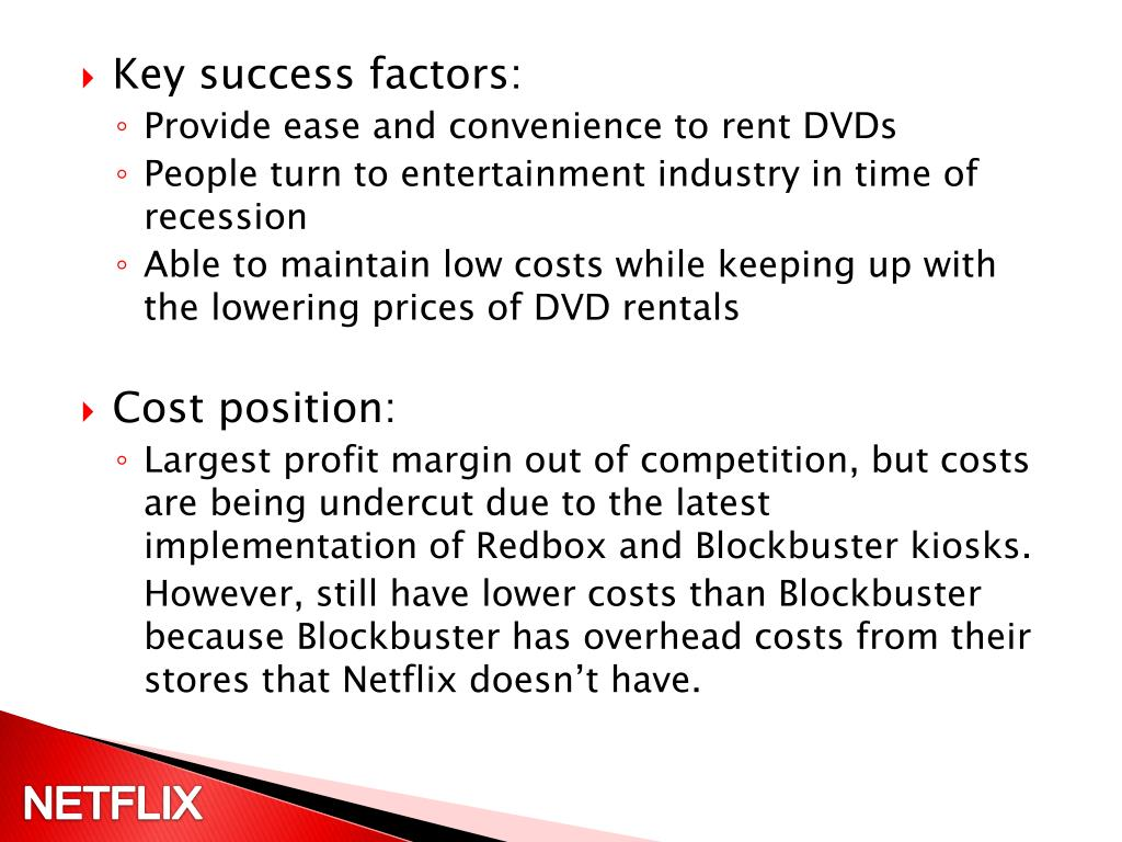 blockbuster key success factors Ceo reed hastings shares his keys to success  the secrets to success according to netflix ceo related topics: cms apis news  - blockbuster didn't have a competing product in 2003.