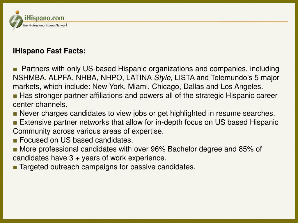 iHispano Fast Facts: