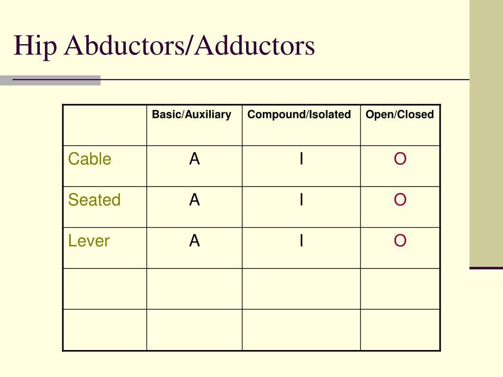 Hip Abductors/Adductors