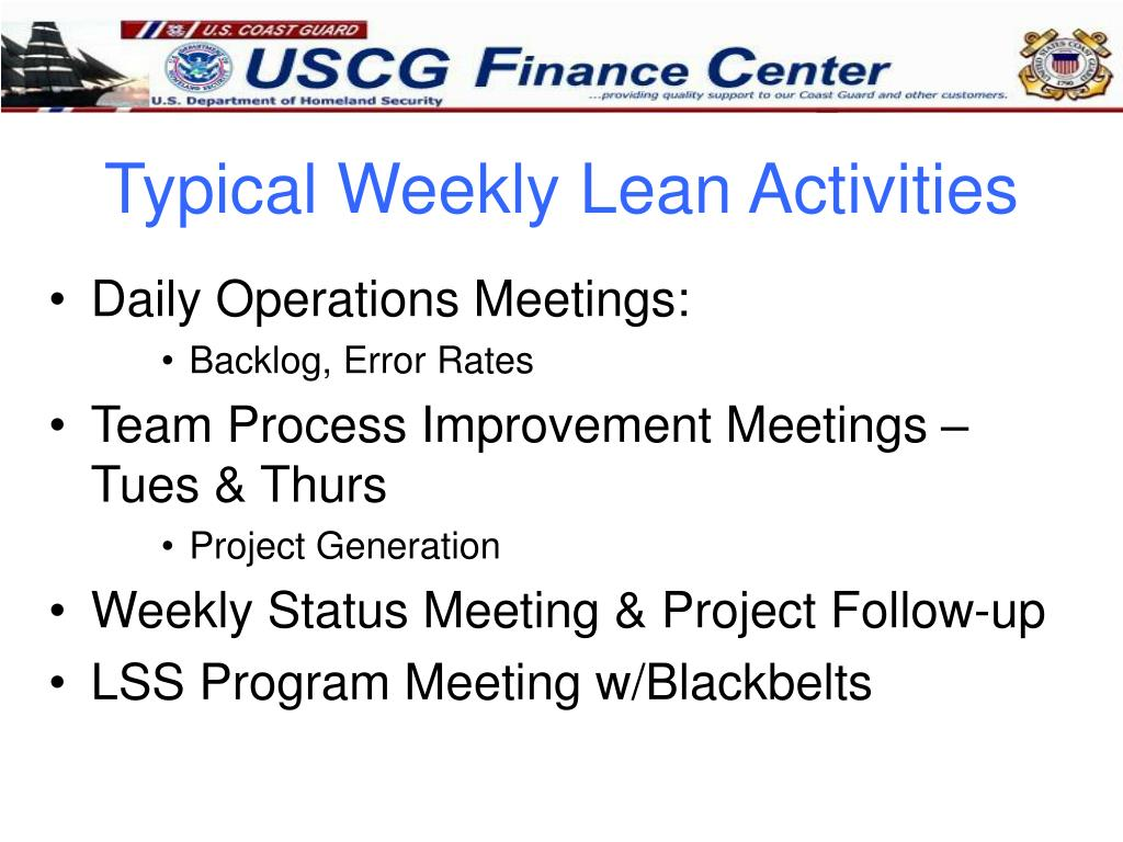 Typical Weekly Lean Activities