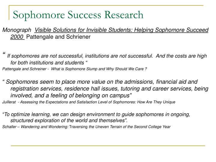 Sophomore success research