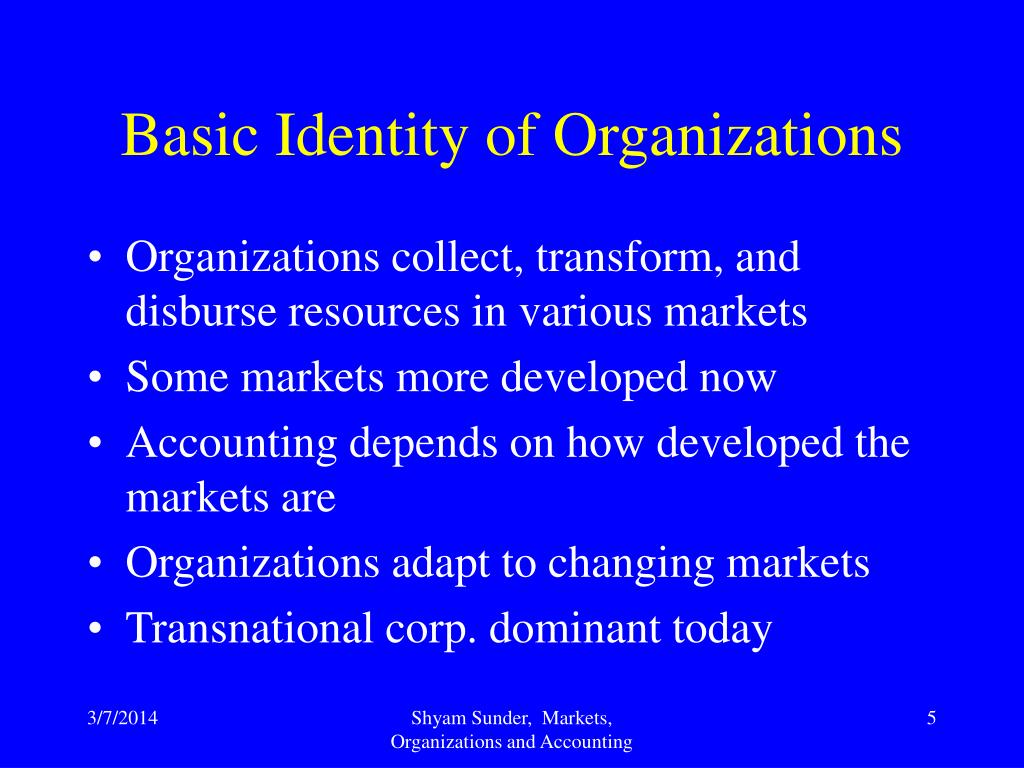 Basic Identity of Organizations