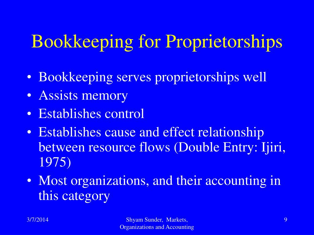 Bookkeeping for Proprietorships