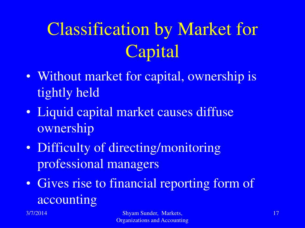 Classification by Market for Capital