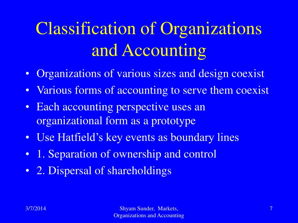 Classification of Organizations and Accounting
