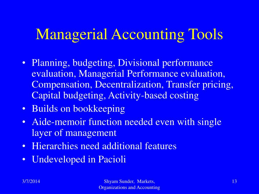 Managerial Accounting Tools