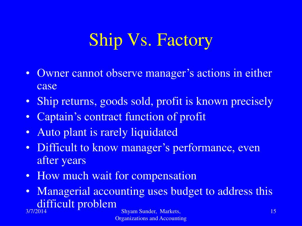 Ship Vs. Factory