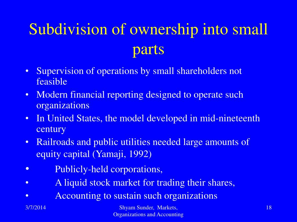 Subdivision of ownership into small parts