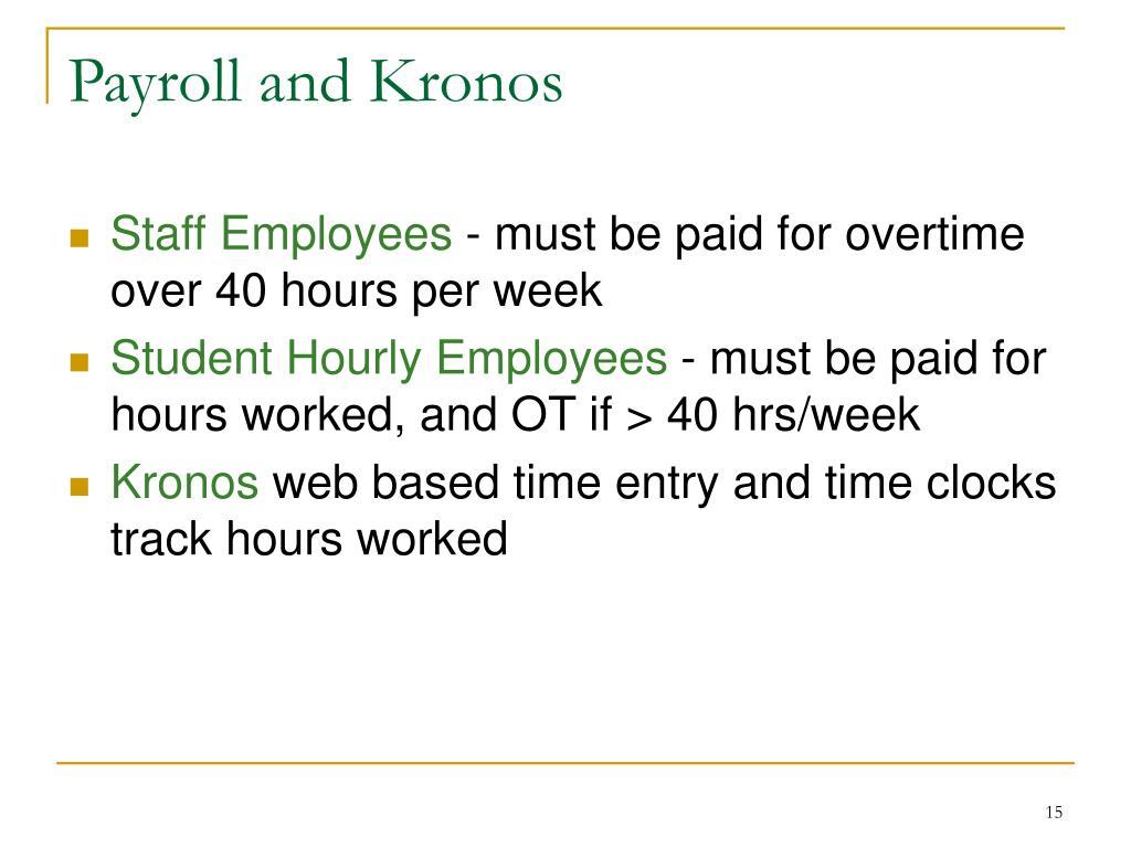 Payroll and Kronos