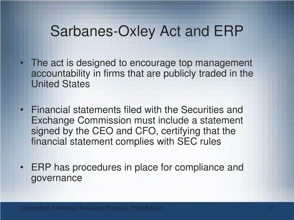 Sarbanes-Oxley Act and ERP