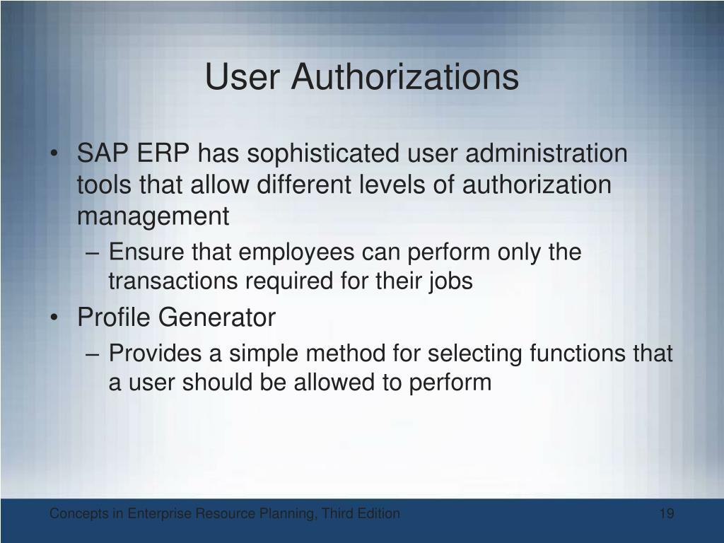 User Authorizations