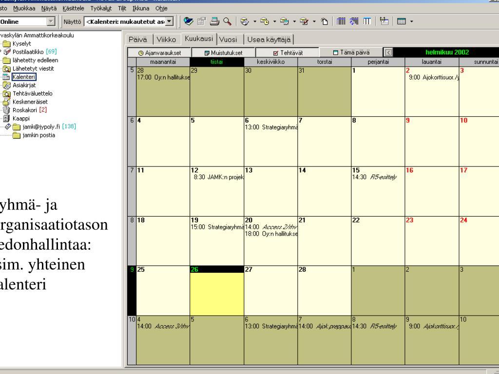 Ryhmä- ja Organisaatiotason tiedonhallintaa: esim. yhteinen kalenteri