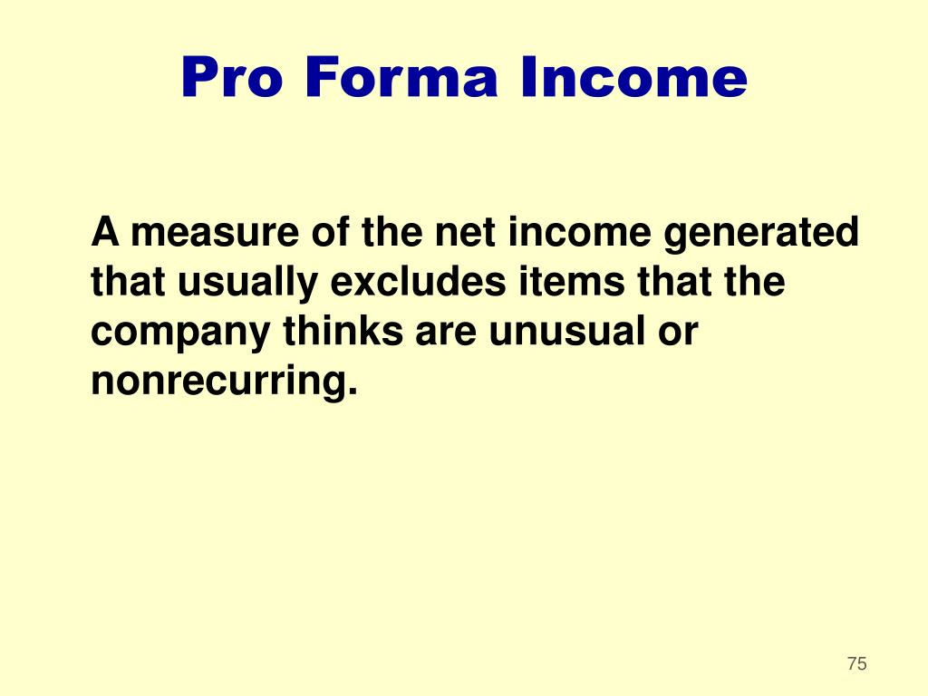 Pro Forma Income