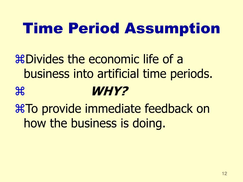 Divides the economic life of a business into artificial time periods.