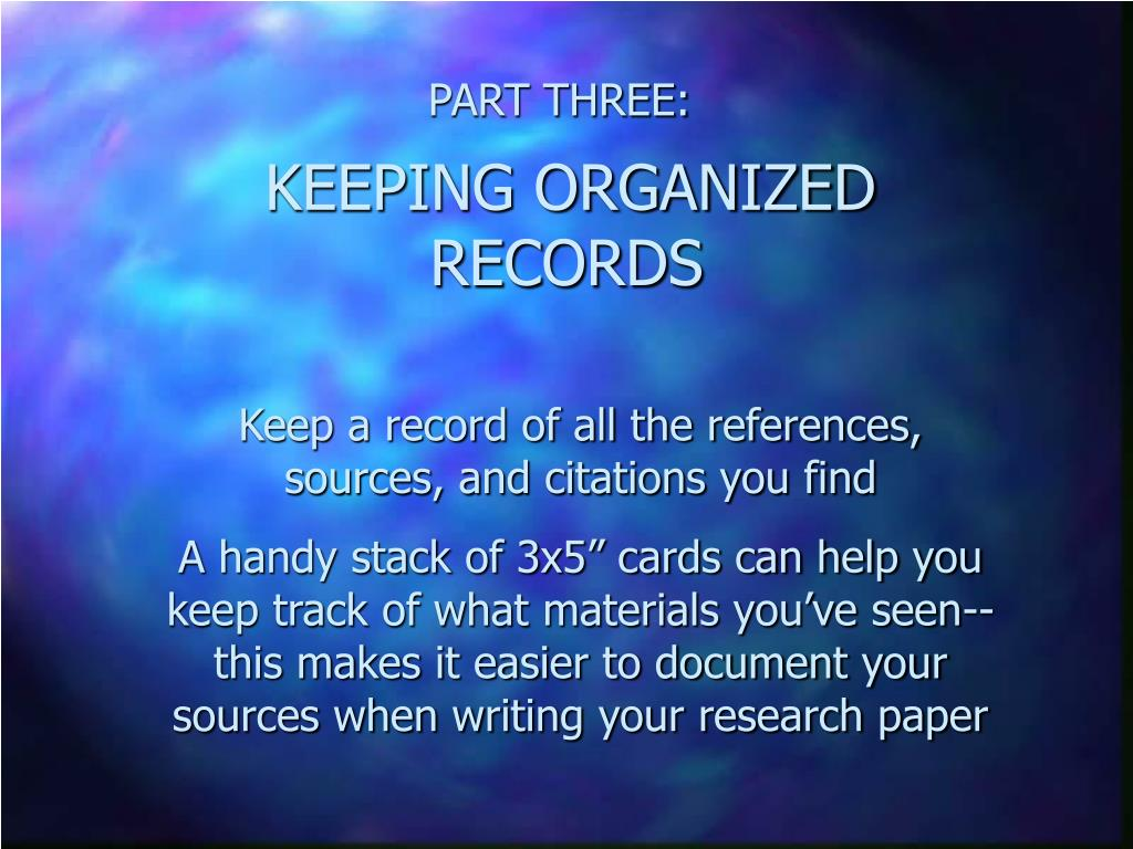 record keeping research paper