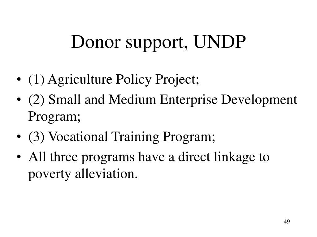 Donor support, UNDP