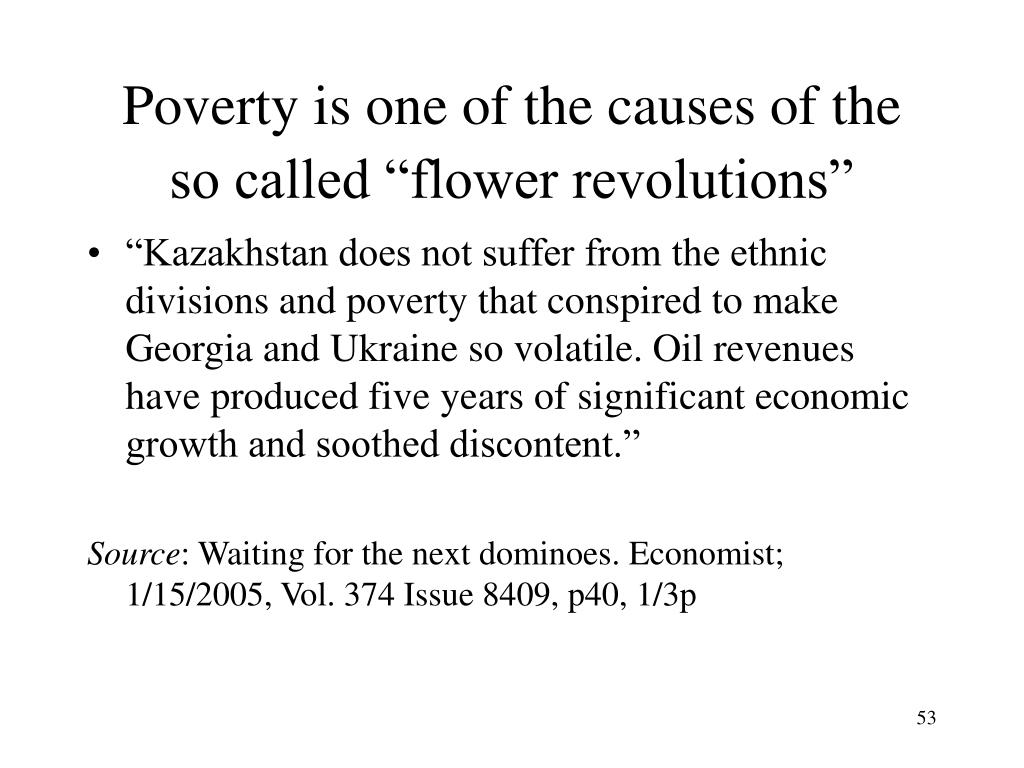 "Poverty is one of the causes of the so called ""flower revolutions"""