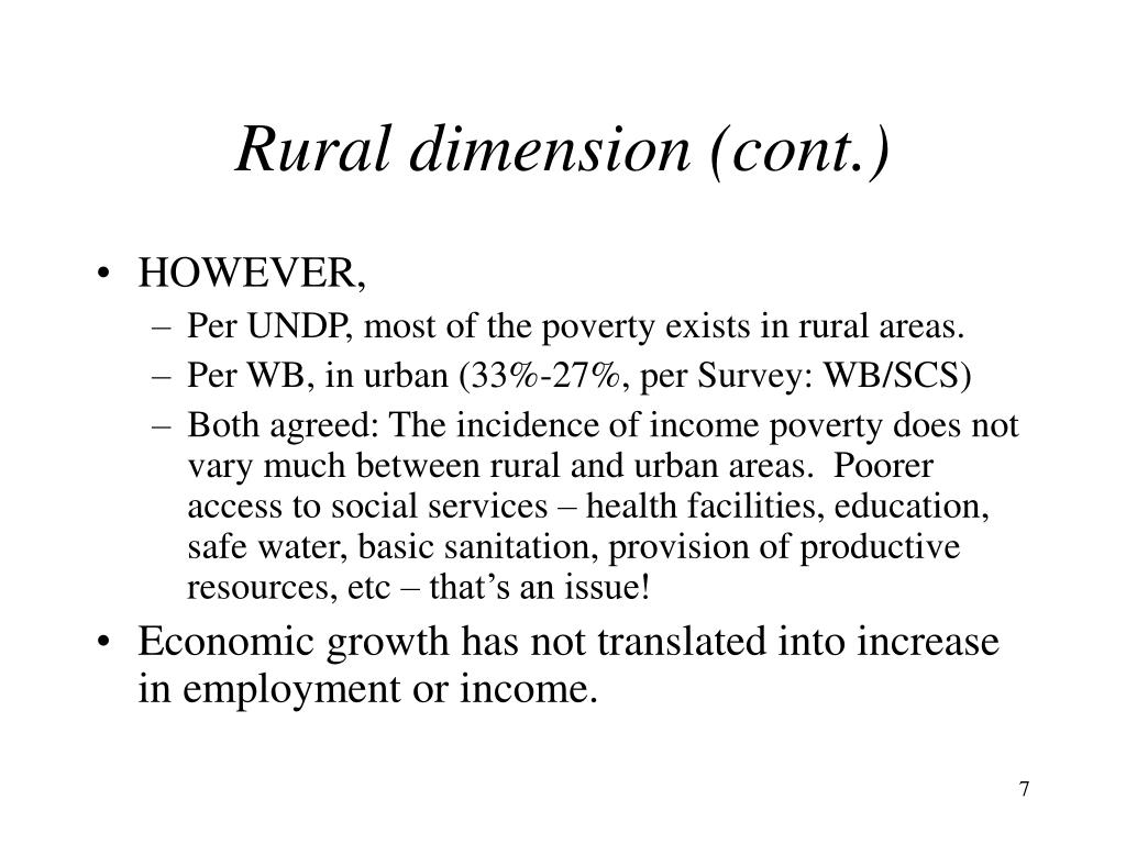 Rural dimension (cont.)