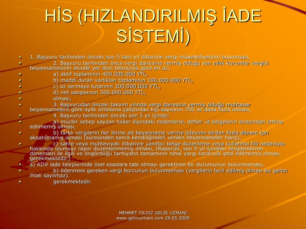 HS (HIZLANDIRILMI ADE SSTEM)