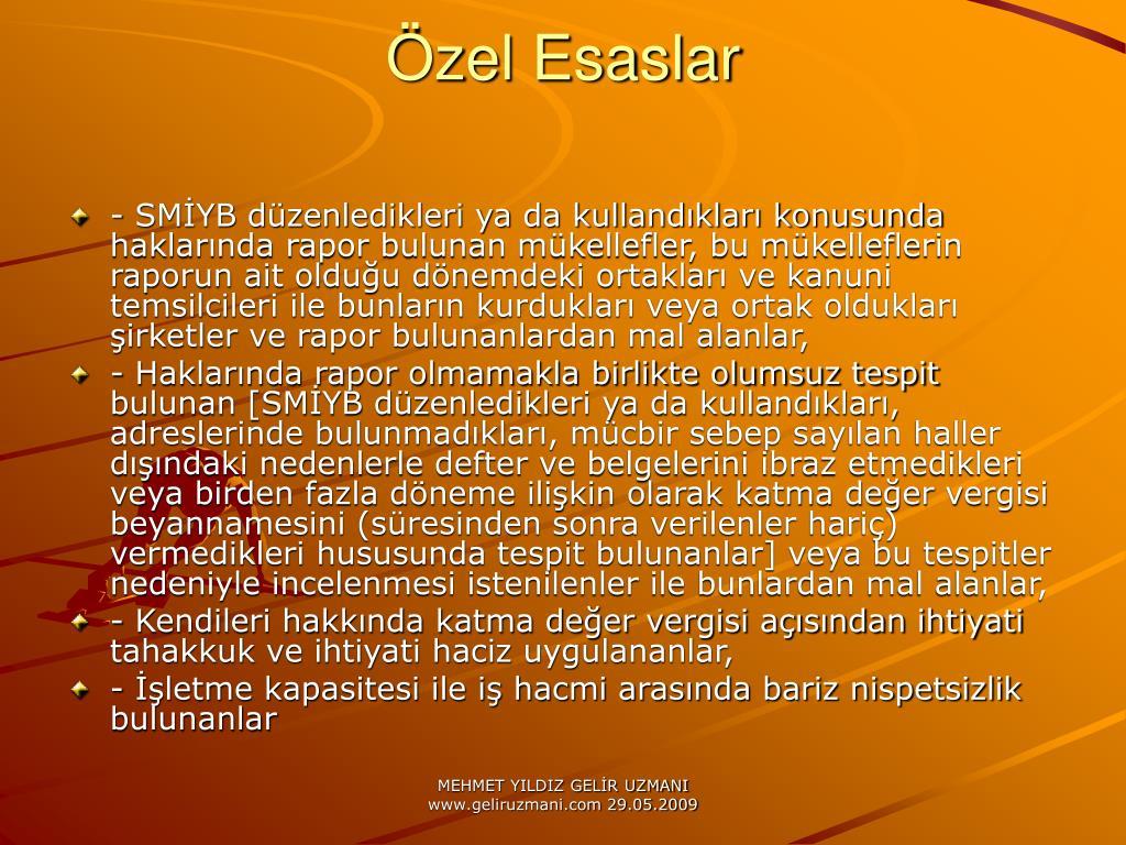 zel Esaslar