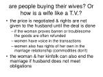 are people buying their wives or how is a wife like a t v