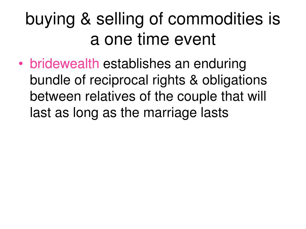 buying & selling of commodities is a one time event