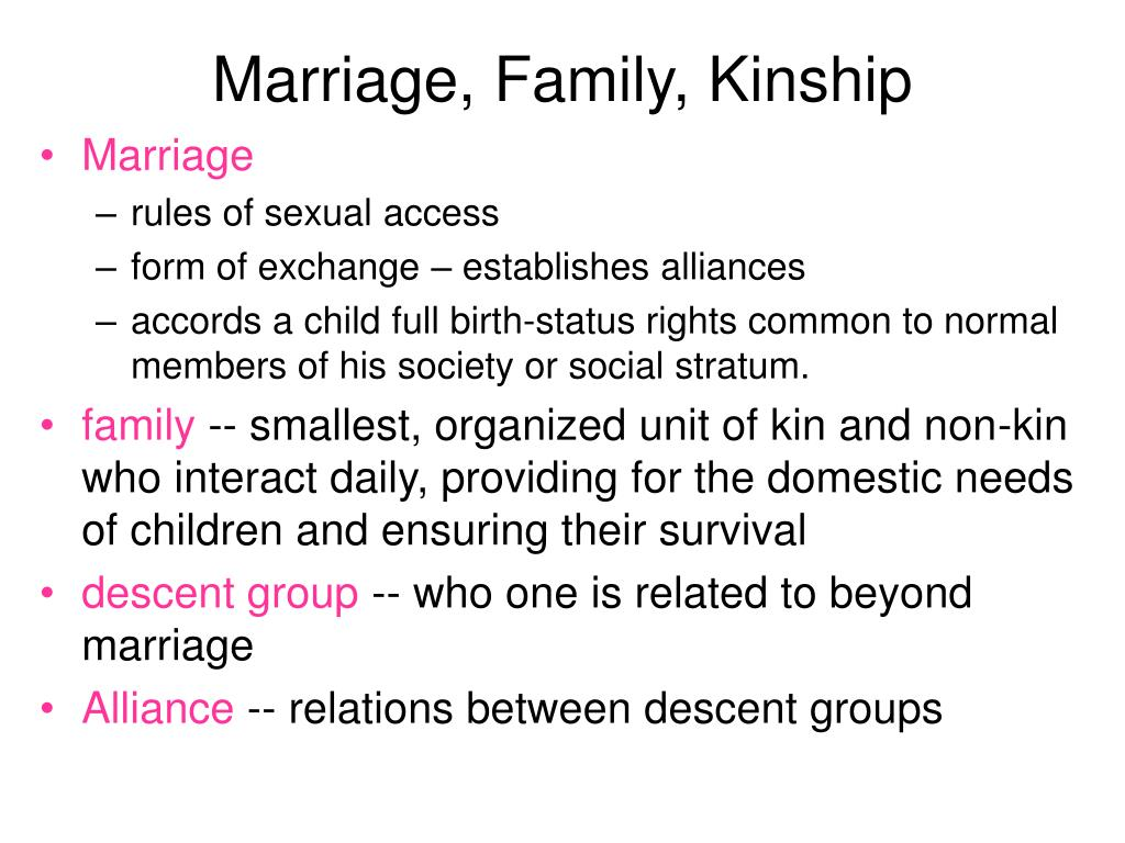 Marriage, Family, Kinship