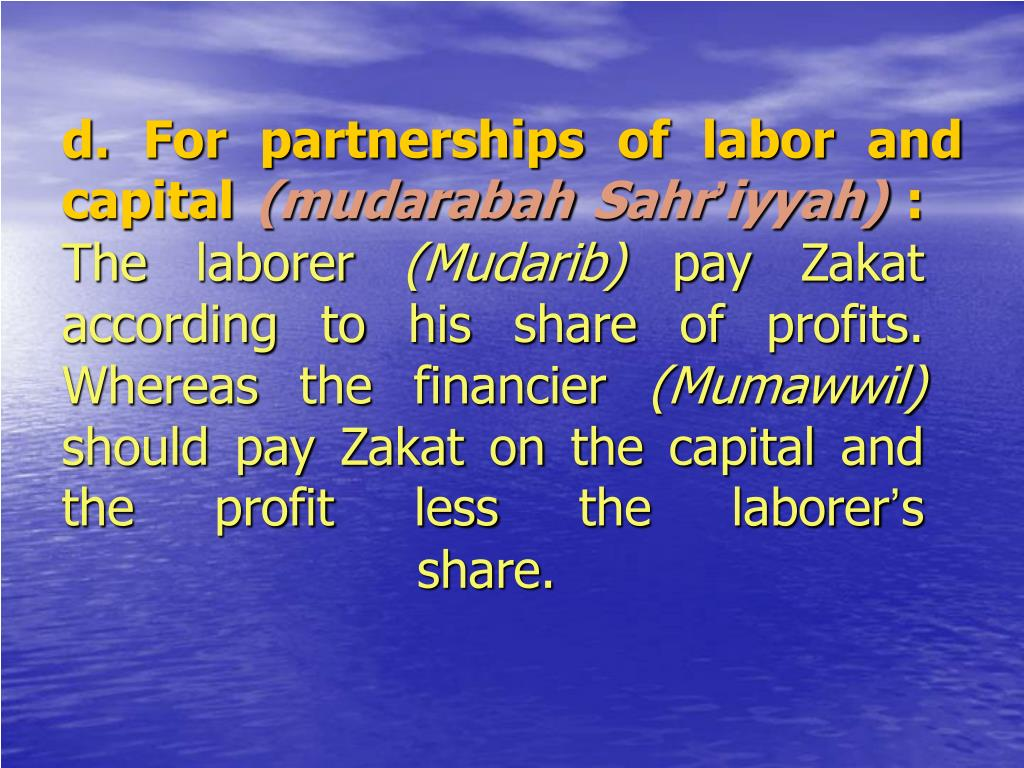d. For partnerships of labor and       capital