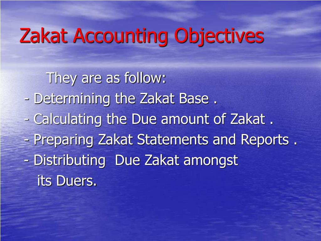 Zakat Accounting Objectives