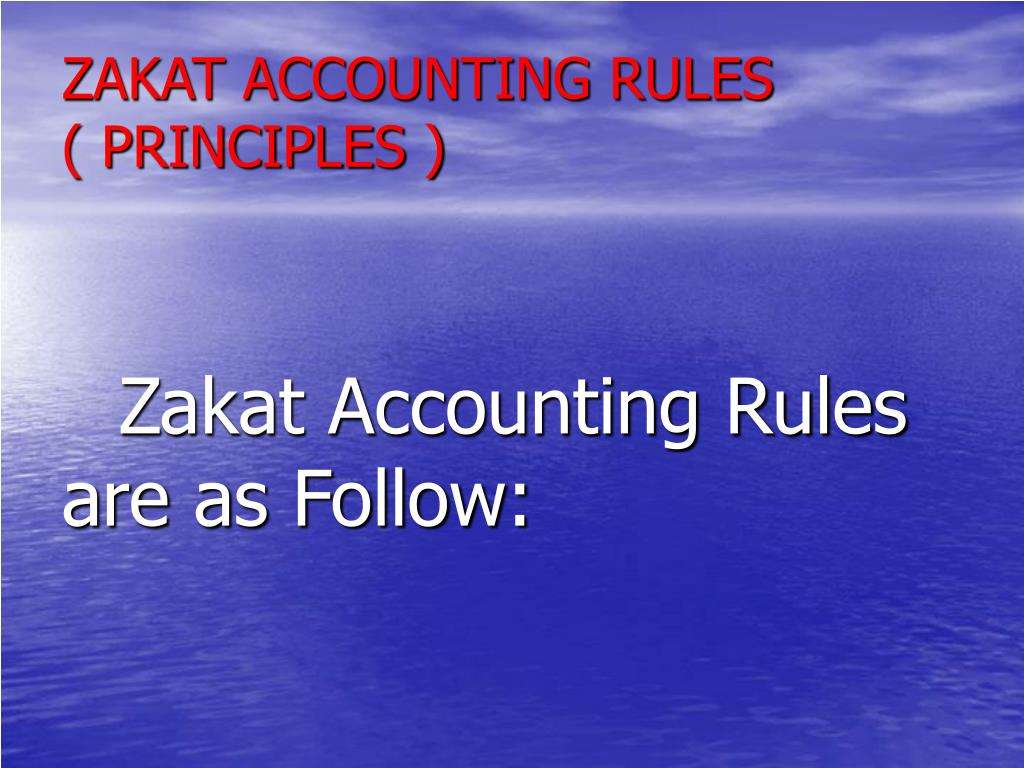 ZAKAT ACCOUNTING RULES