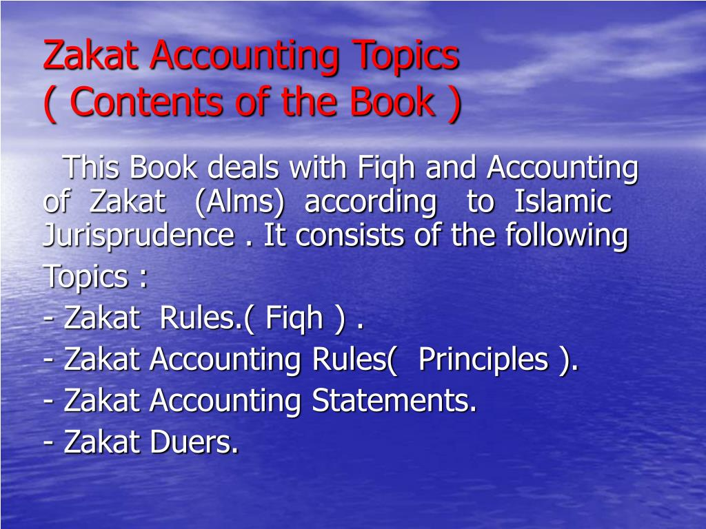 Zakat Accounting Topics