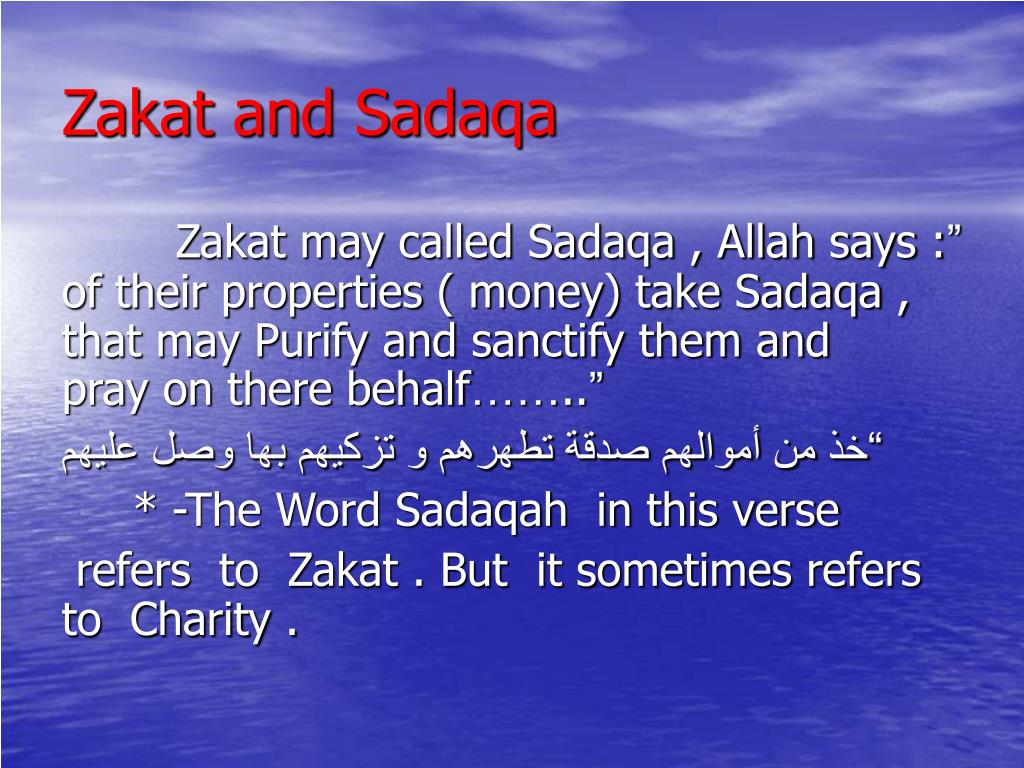 Zakat and Sadaqa