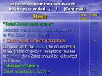 zakat statement for cash wealth for the year ended continue93
